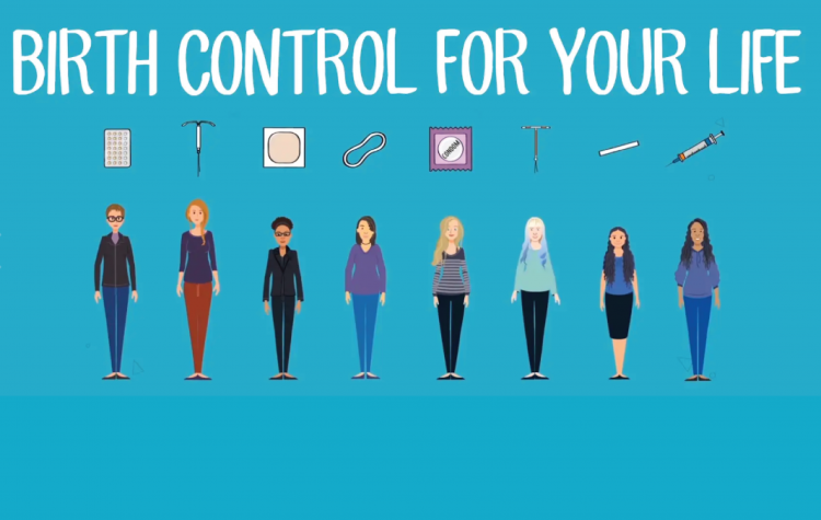 Animated women with birth control methods. Birth control for your life!