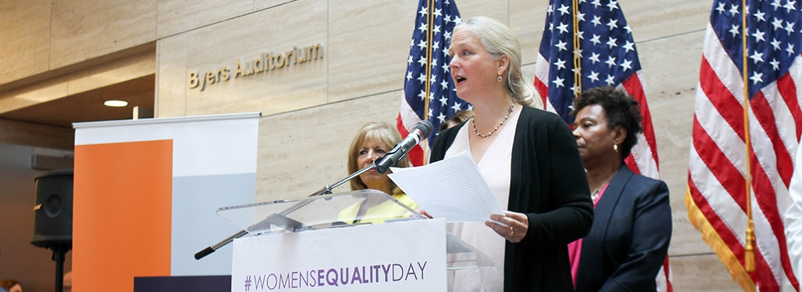 Cynthia Harper speaking at UCSF Women's Equality Day